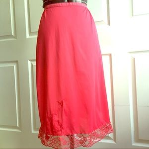 Other - Vintage hot pink slip with lace and butterflies